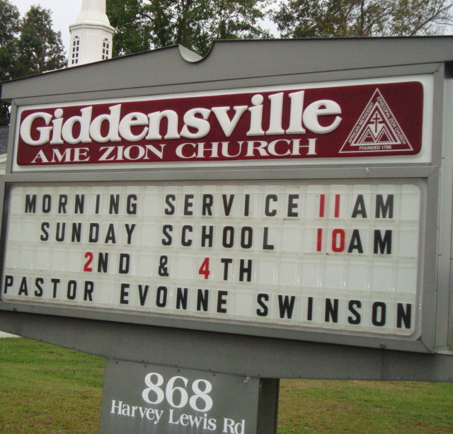 Giddensville Church Sign
